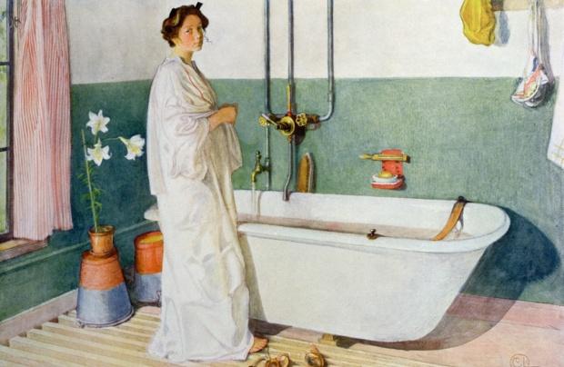 γυναίκα κάνει μπάνιο στο λονδίνο