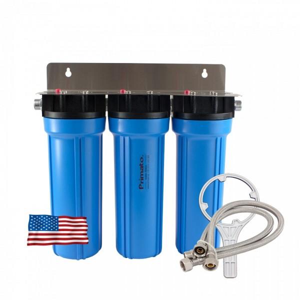 Φίλτρο νερού τριπλό κάτω πάγκου με φίλτρο στερεών και 2 ενεργούς άνθρακες made in USA Primato USA3GB12