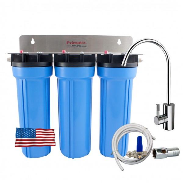 Αμερικάνικο Τριπλό Φίλτρο Νερού κάτω πάγκου με 2 ενεργούς άνθρακες made in USA Primato USA3GB14