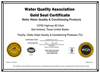 water quality association certificate